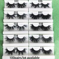 Mikiwi 25mm 3D mink lashes 100 pairs extra length fluffy mink eyelashes Big dramatic volumn eyelashes strip thick false eyelash