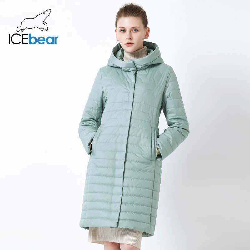 ICEbear 2019 new women's jacket High quality hooded autumn women's coat  cotton clothing Single-breasted mid-length GWC19067I