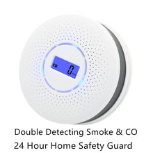 2 in 1 Voice Warn High Sensitive CO Smoke Detector Gas Carbon Monoxide Alarm Sensor Fire Alarm Home Security Protection