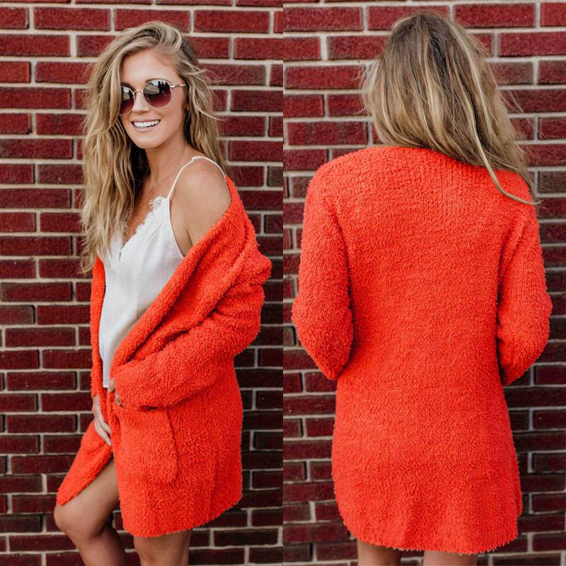 Kadın ceket moda v yaka düz renk hırka Coat cepler dekor kadın sonbahar kış sıcak rahat peluş ince ceket