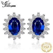 Jewelrypalace 15ct Овальный Синий сапфир Серьги Стад стерлингового