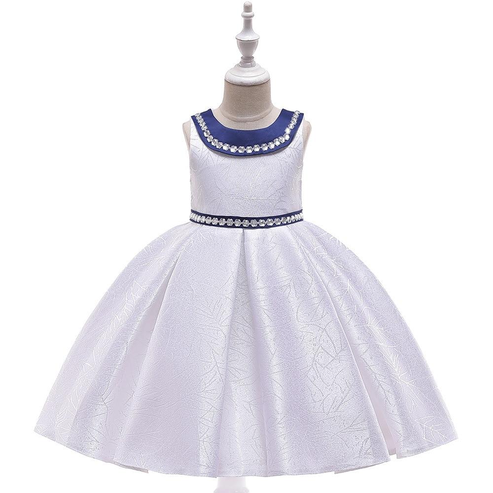 2019 Europe And America New Style Sleeveless Forging Cloth Jacquard Girls Princess Dress Cute Dress Flower Host CHILDREN'S Dress