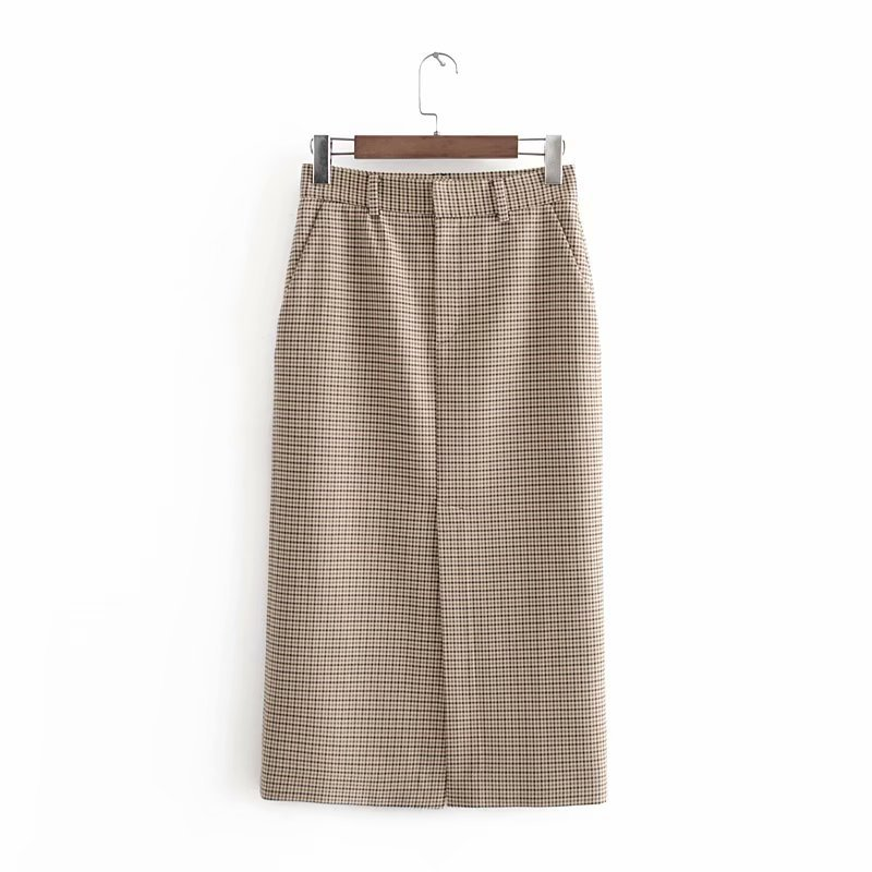 Women Elegant Houndstooth Plaid Midi Skirt Zipper Fly Pockets Split Checkered Female Office Wear Chic Skirts