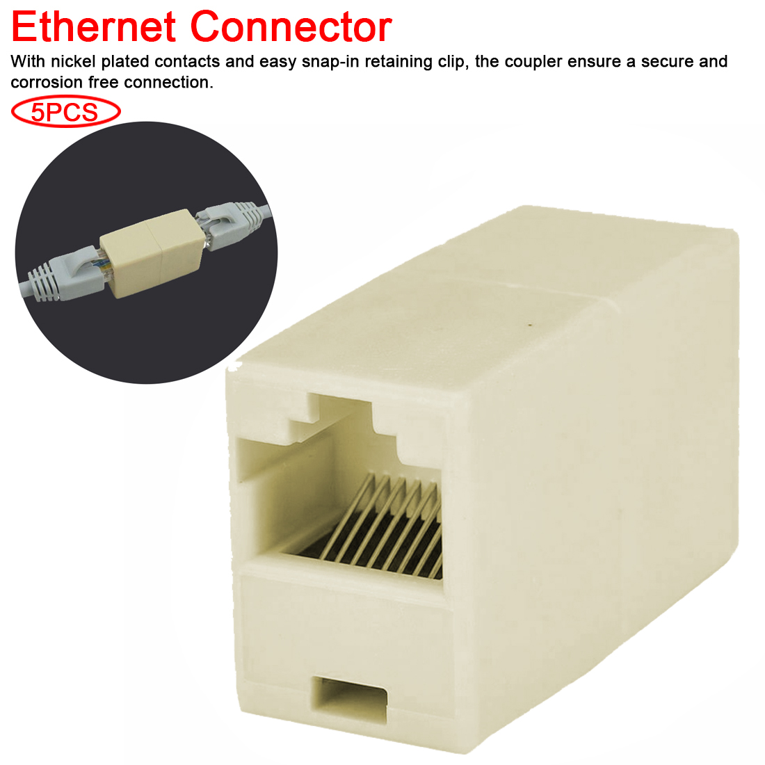 6 Pcs RJ45 Cat5E Network Ethernet Straight Inline Coupler Cable Joiner Connector
