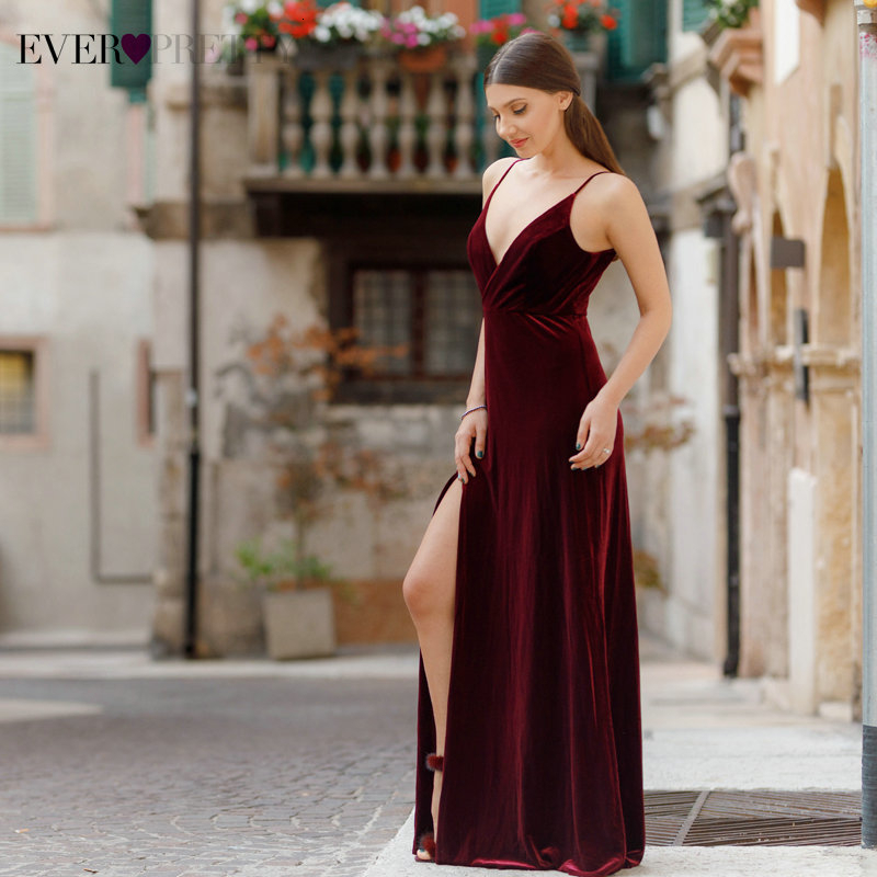 Sexy Velour   Evening     Dresses   Long Ever Pretty Mermaid V-Neck Spaghetti Straps Side Split Formal   Evening   Gowns Robe De Soiree 2019