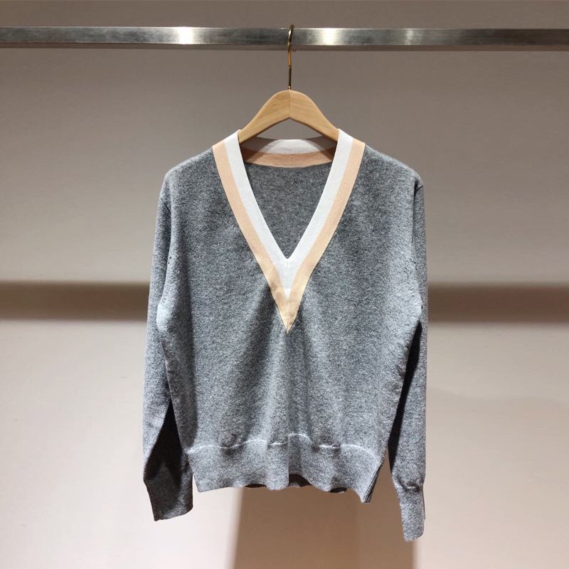 Women's Knitted Sweater V-neck Long-sleeved Patchwork Autumn Winter Knitwear Pullover Top
