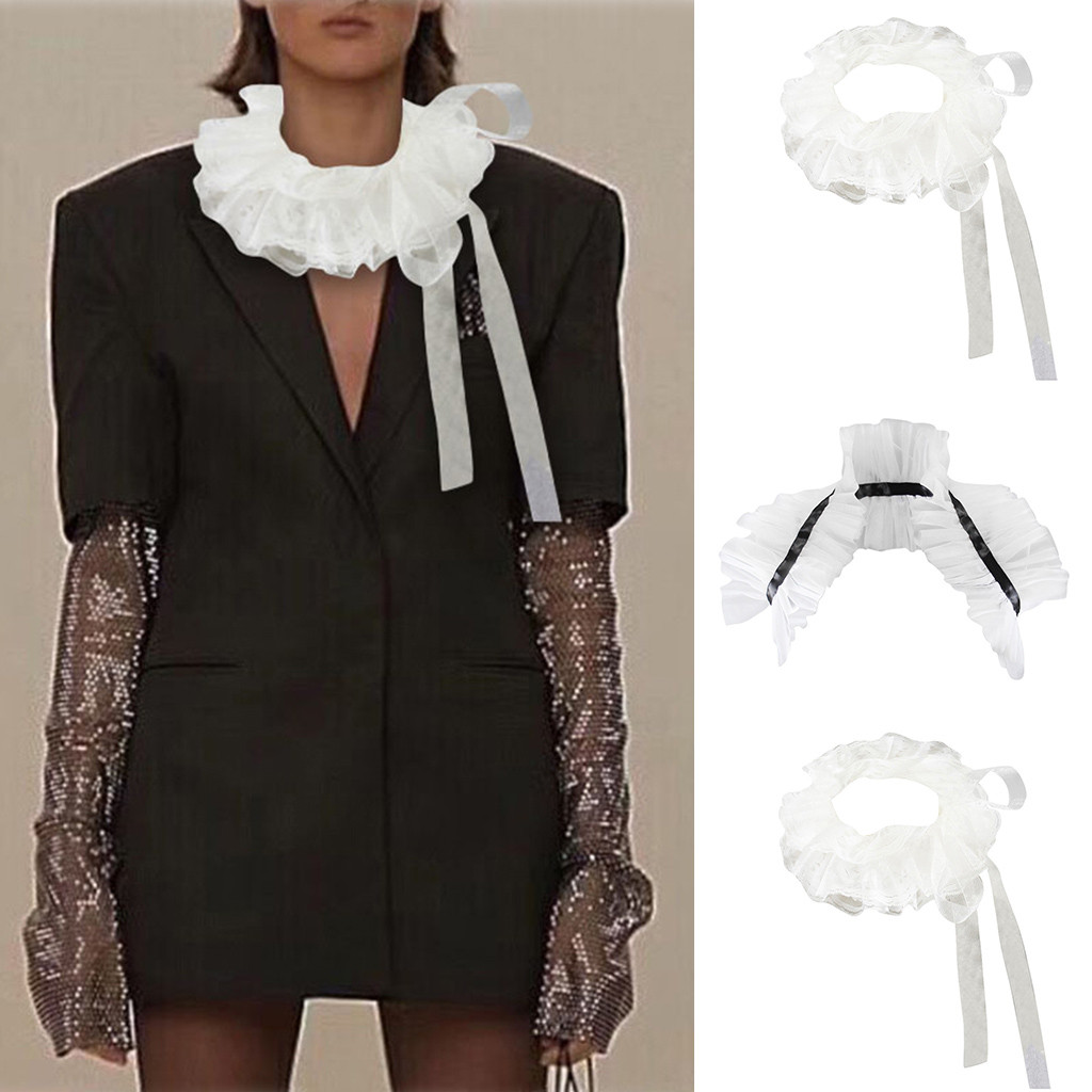 Fashion Retro Fake Collar Women False Collar Tulle Ruffled Neck Collar Ruffle Layered Mesh Choker Wrap Tie 2019 #40