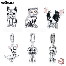 WOSTU Real 925 Sterling Silver Lovely Doggy Cat Animal Charm Beads Fit Original Women Bracelet Pendant Silver Jewelry Making(China)
