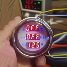 Auto 52mm Water Temp Meter Voltage Oil Pressure 3 in 1 Gauge With Red Backlight For Car Boat Marine Yachts Digital Gauges