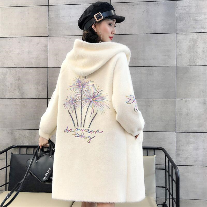 Velvet Coat Female Spring And Autumn Large Size Mane Coat Hooded Padded Shirt Long Sweater Knit Cardigan Winter