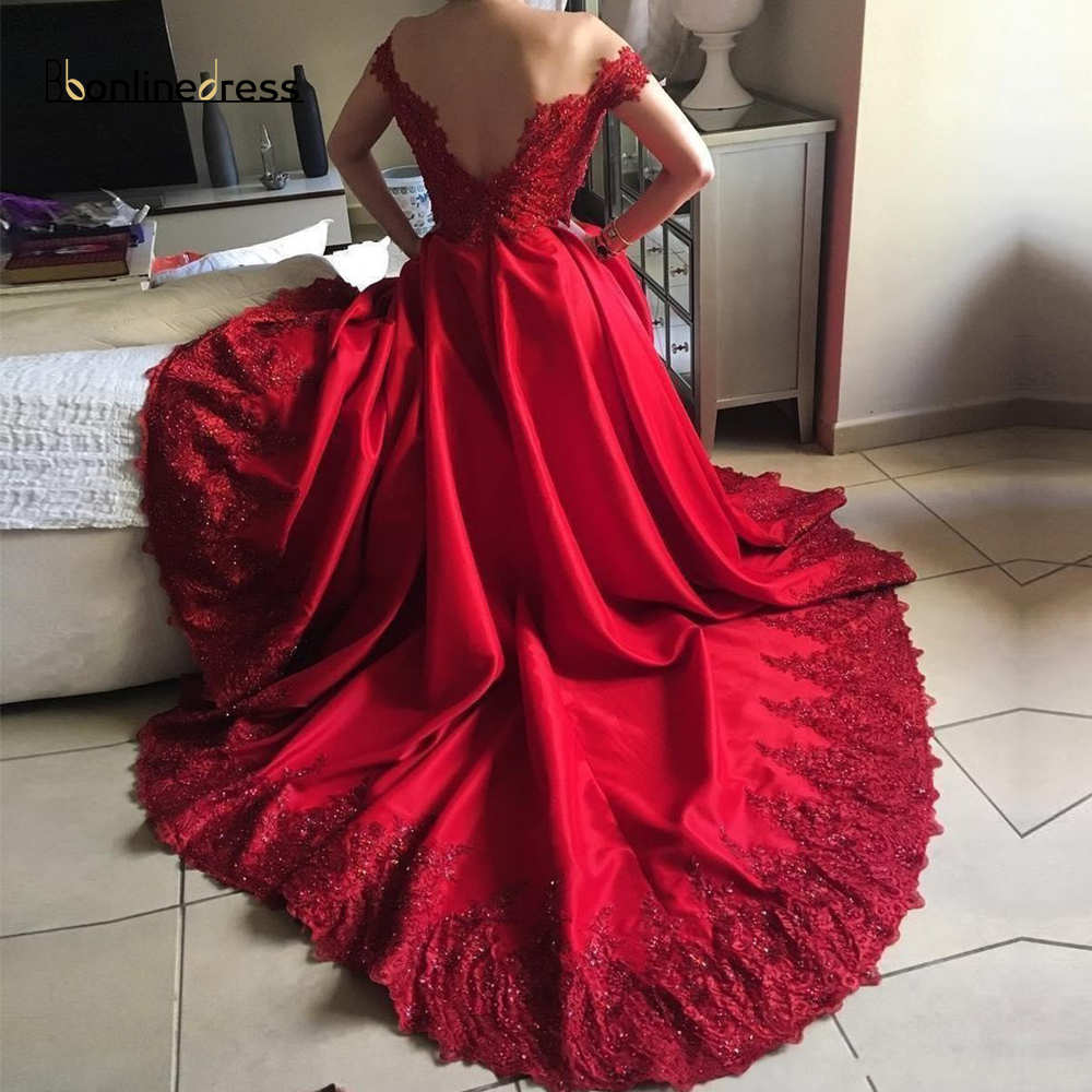 Party-Gowns Red Evening Dresses Long Satin A-Line Off The Shoulder Evening Dress Appliques Beaded Formal Gown robe-de-soiree