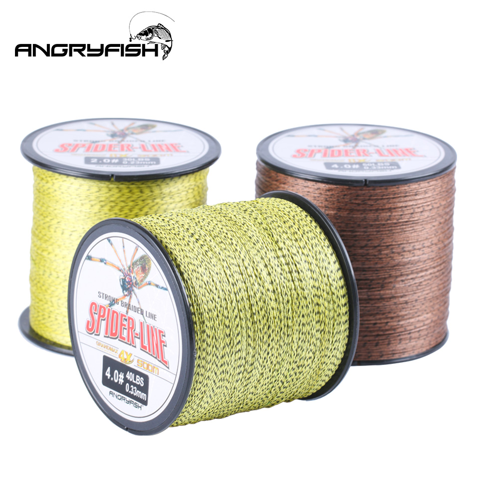 Angryfish 4 Strands 300M/500M PE Braided Fishing Line Camouflag Yellow And Brown Multifilament Fishing Line 10-60LB