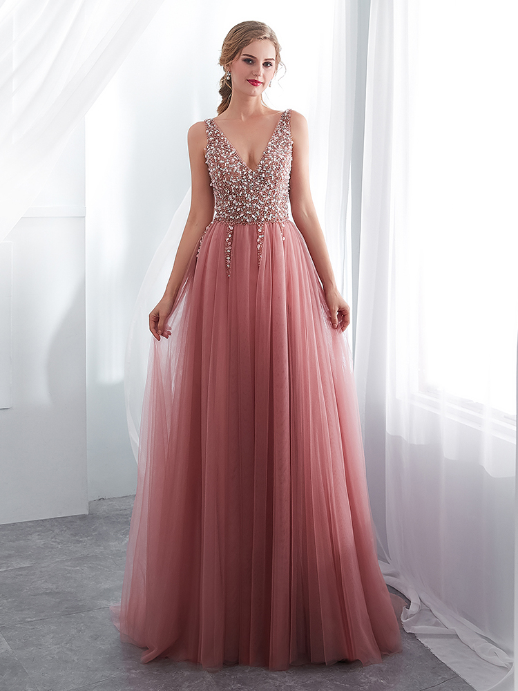 Prom-Gown Beading Evening-Dress Tulle Vestido Pink Backless Sleeveless De V-Neck Sweep