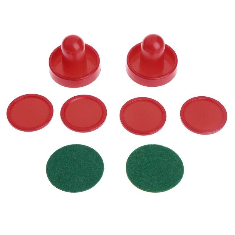 1set Air Hockey Accessories Goalies Puck Felt Pusher Mallet Adult Table Games  094C