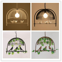 Nordic small bird iron bird cage chandelier lamps bedroom dining room aisle personality warm lights
