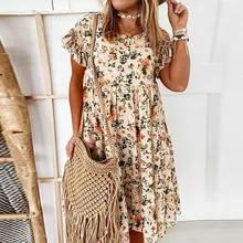 2021 verão vestido de impressão floral boêmio babados manga curta a linha vestidos elegante o-pescoço solto mini vestidos de festa