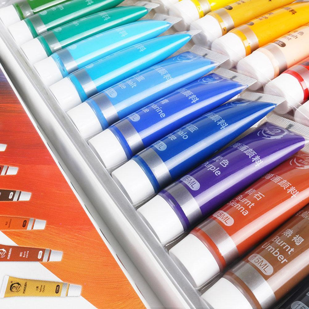 12/24 Colors Acrylic Paint Set Color Paint For Fabric Clothing For Kids Drawing 15ML Glass Painting Waterproof Art Supplies J6J6