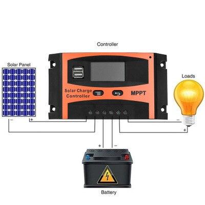 Contrôleur de Charge solaire USB LCD affichage 12V/24V 30A 40A 50A 60A Auto solaire panneau chargeur régulateur batterie au Lithium bricolage