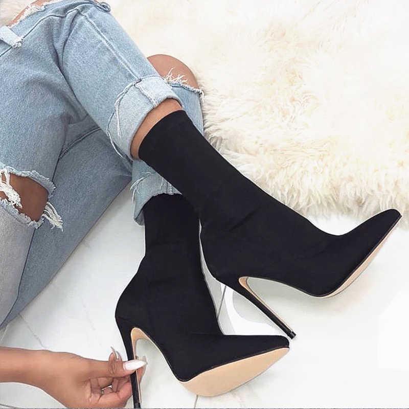 2019 güz kış trend kadın Neon kireç yeşil çorap gül kırmızı Stiletto topuklu saten streç kumaş yarım çizmeler artı boyutu
