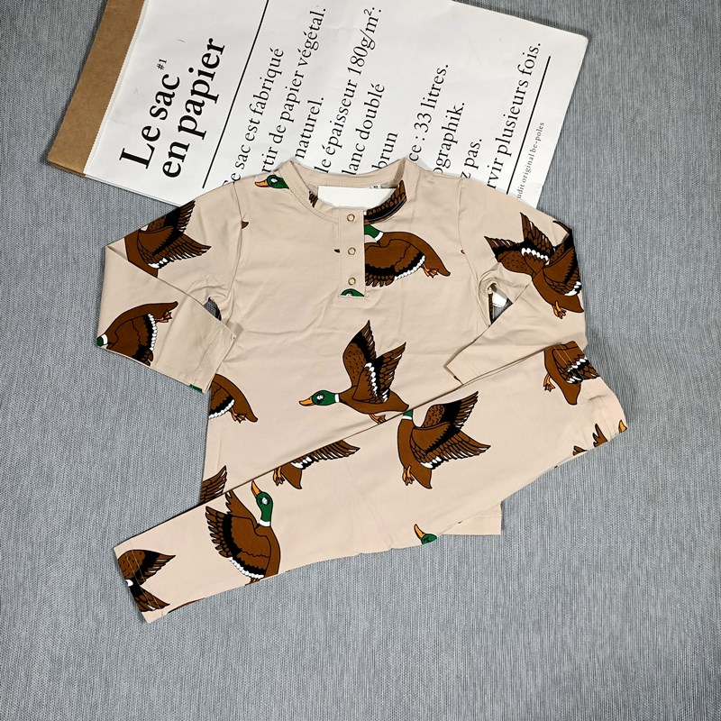 BOBOZONE PANDA DUCK PLAID Long sleeve T-SHIRT and leggings for kids boys girls autumn winter 3