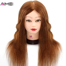 100% Real Natural Human Hair Training Mannequin Hoofd Met Stand Salon Professionele Kappers Praktijk Manequi Hoofd Voor Kapper(China)