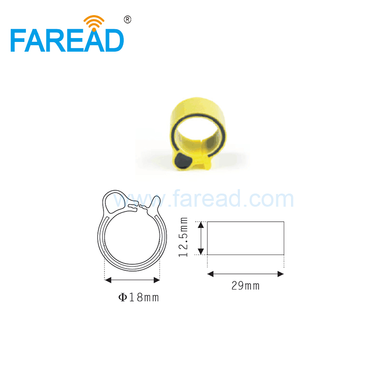 Free Shipping X100pcs 18mm RFID TK4100 Chip 125Khz RFID Foot  Tag Ring For Chicken Duck Gooses ID Tagging