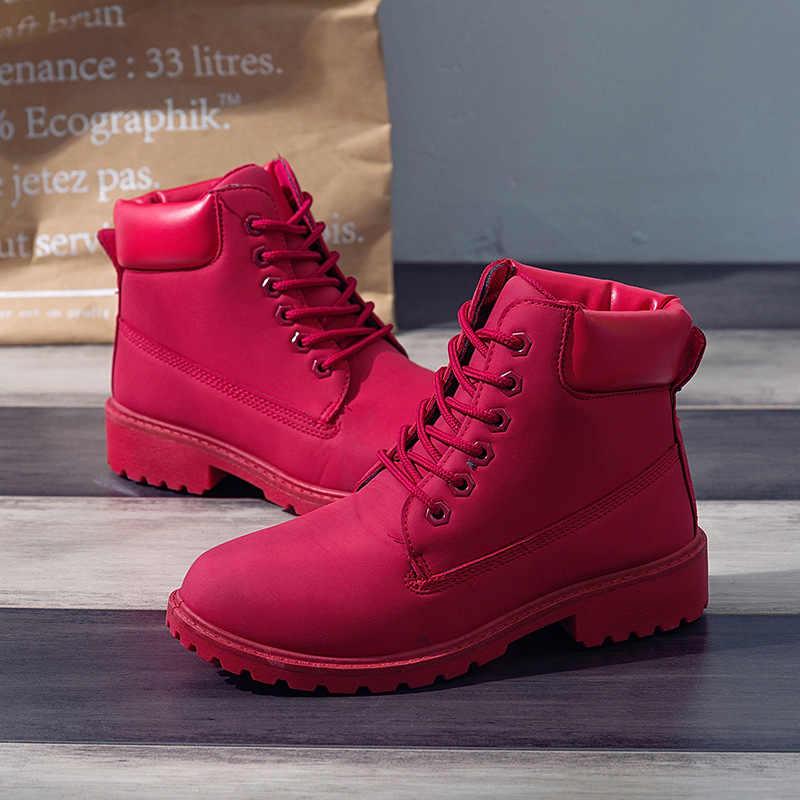 Wanita Sepatu Merah Di Datar Musim Dingin Hangat Bulu Mewah Sepatu Bot Salju Renda-UP Sepatu Bot Kulit Sepatu 2019 Pergelangan Kaki sepatu Bot