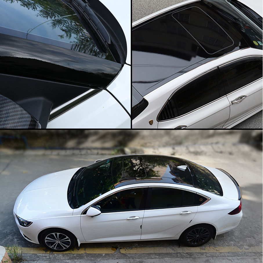 50CM*135CM PVC Glossy Car Roof Vinyl Film Stickers Simulation Panoramic Sunroof Protective Film Covers Decorative Rubber Strip