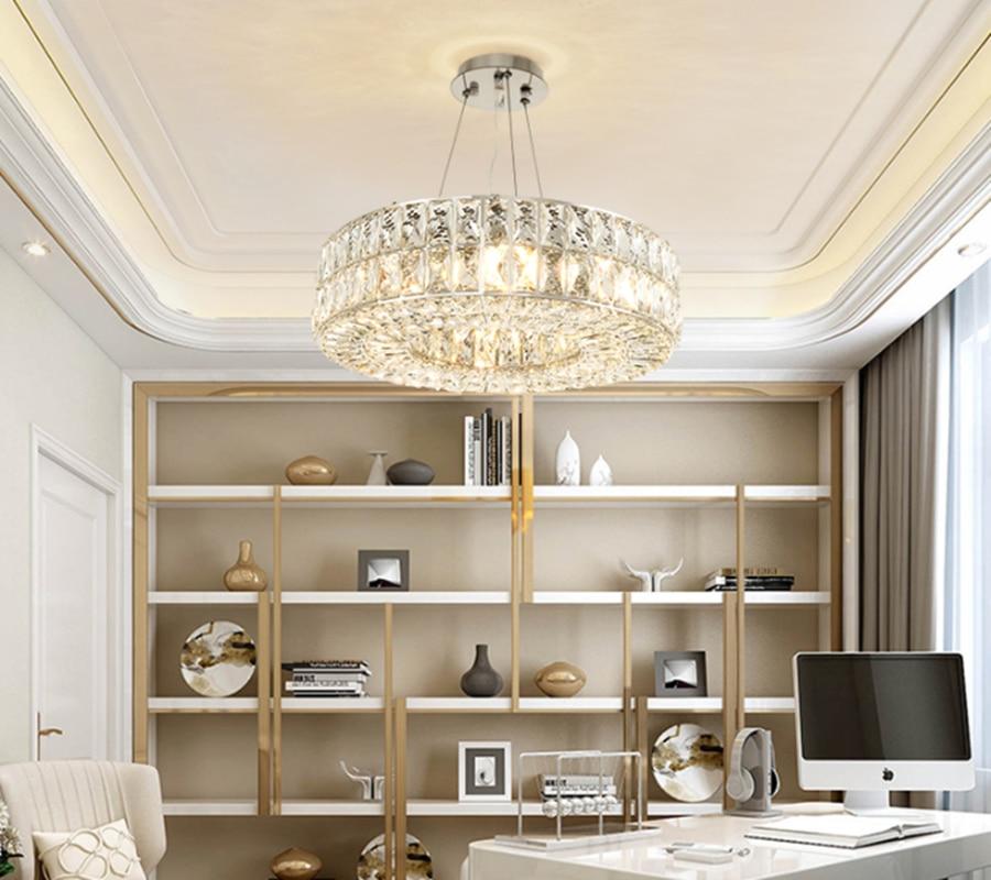 Modern Chandelier Lighting For Dining Room Round Chrome Crystal Lamp Living Room Kitchen Island Suspension LED Lustre