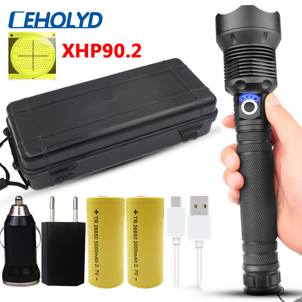 XHP90 2 Most Powerful Led Flashlight Zoomable Usb Rechargeable 18650 26650 Battery Torch Lantern for Camping Aluminum Alloy 30W