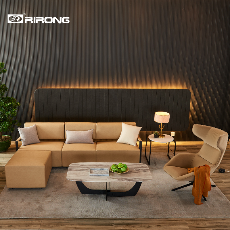 Modern Design, Elegant Couch Style Living Room Hotel Home Office Furniture  Leather Sofa Coffee Table  Set Single Sofa
