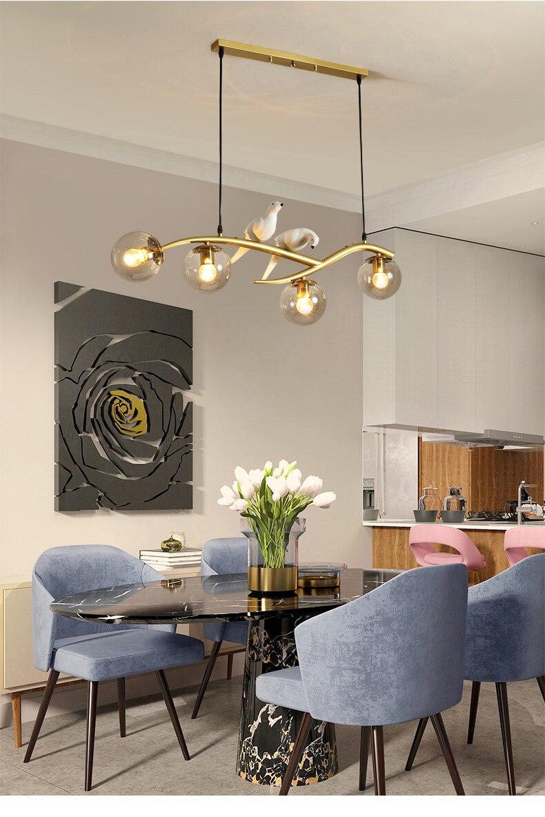 gold black pendant kitchen island lighting dinner table light nordic design home bar bird lamp hoop glass ball pendant light
