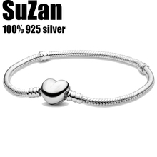 Suzan Authentic original logo 100% 925 sterling silver pan charm chain bracelet for women fashion heart snake bracelet jewelry