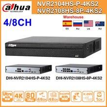 Original Dahua NVR NVR2104HS-P-4KS2 NVR2108HS-8P-4KS2 4CH 8CH POE NVR 4K Recorder H.265 POE CCTV System Security Kit