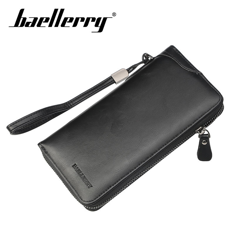 Baellerry Wallet PU Leather Solid Men Long Clutch Wallet Zipper Porta Rope Handbag Coin Pocket Note Compartment Business Wallet in Wallets from Luggage Bags