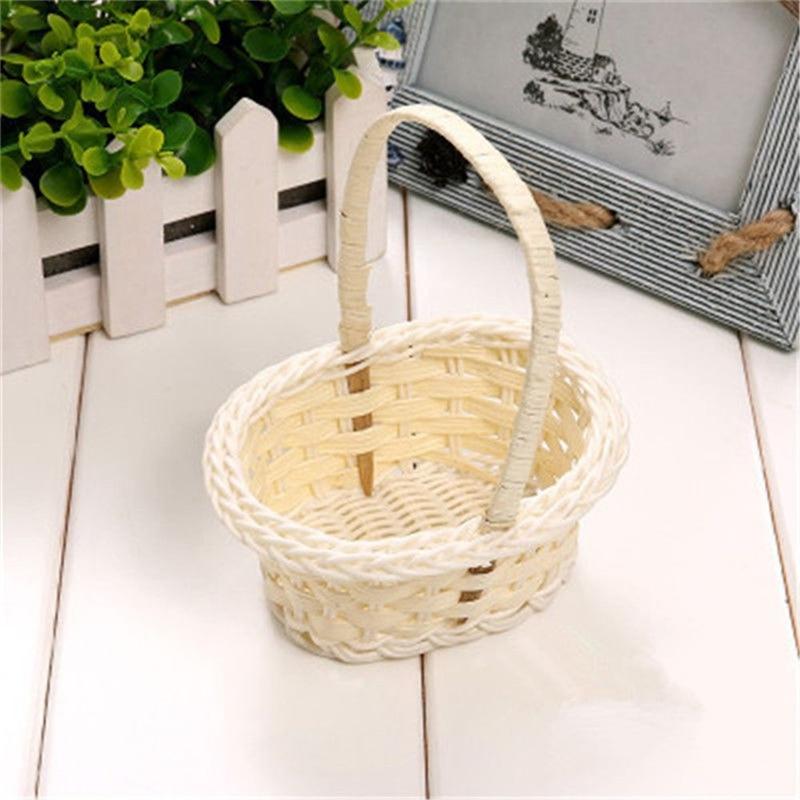 Woven Flower Basket Plastic Tube Flower Basket Mini Plastic Fruit Paper Towel Storage Rattan Basket