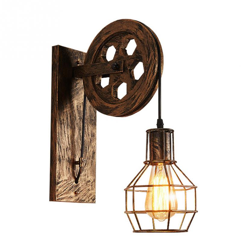 Home Sconce Light Loft Retro Wall Lamp Lifting Pulley Wall Light Vintage Industrial Style Iron Lanterns Suspension Pendant Light