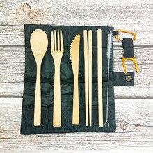 2020 6pcs cutlery set Eco friendly Knife Fork Spoon dinnerware set bamboo Flatware set 100%Biodegradable  Kitchen Tableware portable bamboo korean cutlery set wooden tableware knife fork spoon set with eco friendly bamboo straw for travel cutlery set