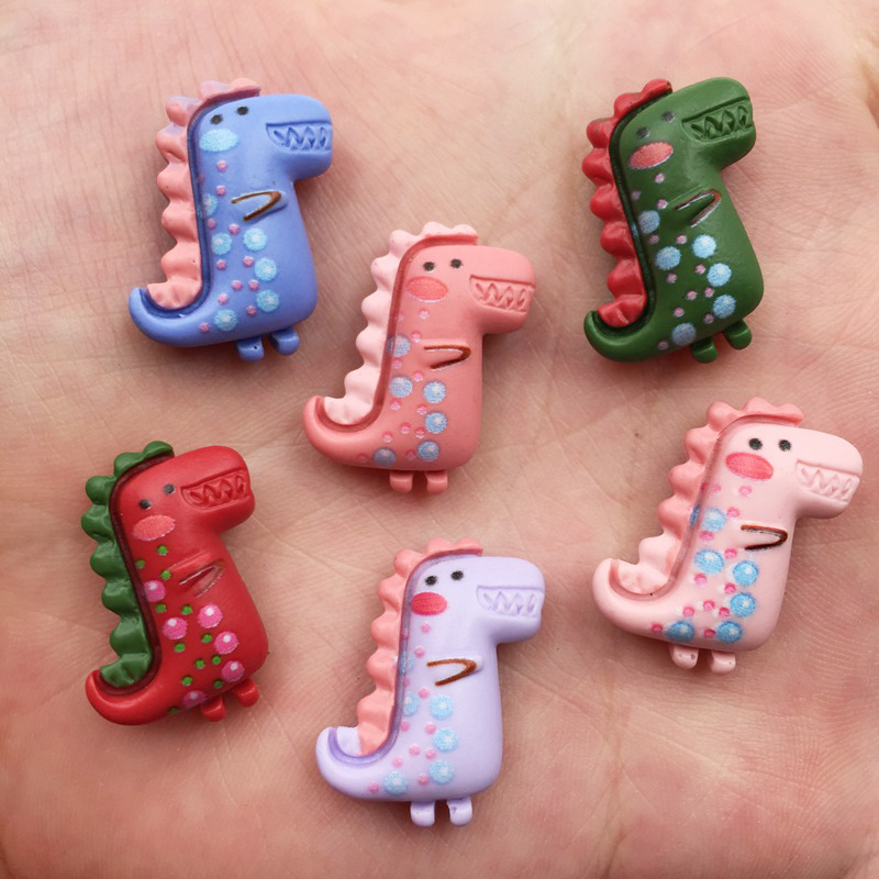 Resin Kawaii Mix Colorful Mini Flower Dinosaur Flatback Cabochon Stone 12PCS Scrapbook DIY Decor Home Figurine Crafts OF744