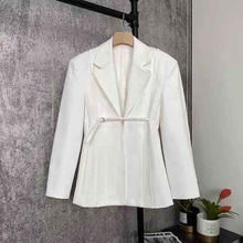 Blazer Coat DEAT Women Summer Spring Solid-Color Fashion Casual Simple New And Lapel