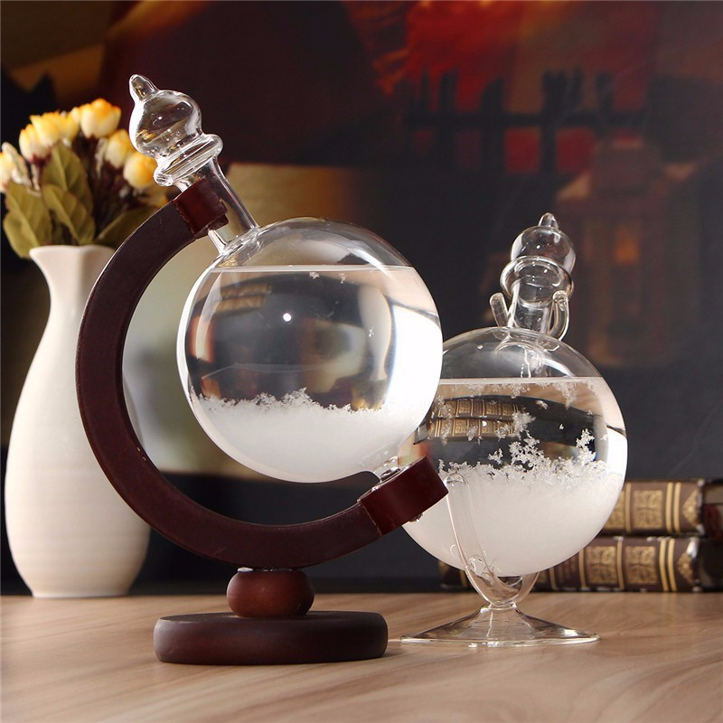 Weather Forecast Crystal Wooden Glass Base Globe Shape Home Decoration Christmas Gift For Desk Room Ornaments