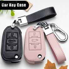 Lederen Auto Remote Key Cover Case Houder Bescherm Voor Peugeot 208 207 300 301 308 308S 408 2008 3008 4008 5008 Voor Auto Accessorie