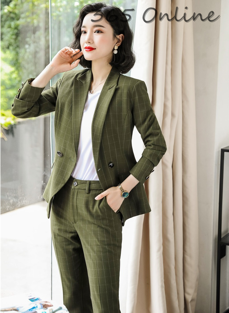 Autumn And Winter Novelty Green High Quality Fabric Formal Women Business Suits With Pants And Jackets Coat Blazers Pantsuits