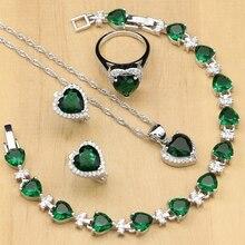 925 gümüş gelin takı setleri yeşil kübik zirkonya beyaz CZ kadınlar için düğün küpe kolye yüzük bilezik kolye seti