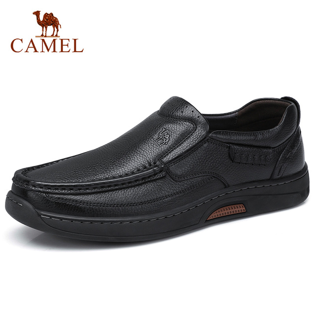 CAMEL Comfortable Genuine Leather Men Shoes Male Formal Business Loafers Mens Leather Casual Shoes Zapatos Mocasin Hombre 38 47