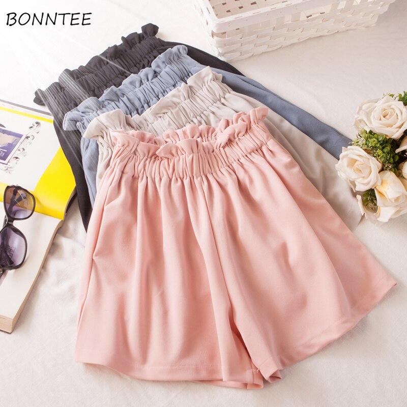 Shorts Women High Waist Wide Leg Korean Version Chiffon Large Size Womens Trendy Loose Summer Breathable Ladies Elegant Pink New