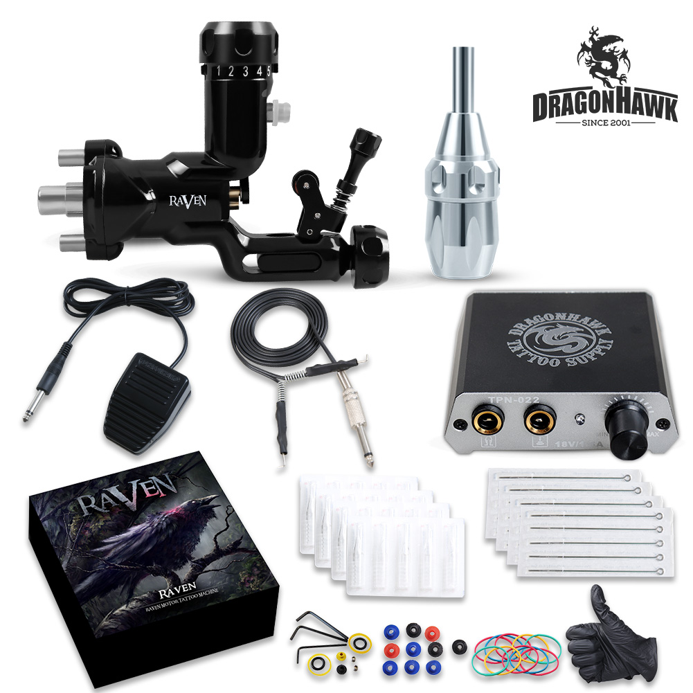 TOP Tattoo kit Airfoil Rotary Machine Gun Power Supply Needles Tip Grip