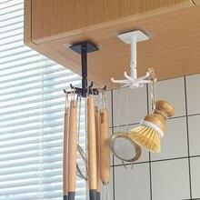 Kitchen Rotate Storage Rack Cupboard Shelf Hanging Hook Organizer Closet Clothes Shelf Hanger Wardrobe Holder Kitchen Storage