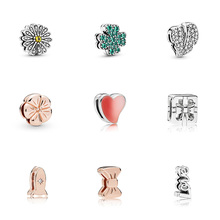 Original 925 Sterling Silver Beads Rose Gold Bow Rocket Flower Heart For Women Diy Pandora Charm REFLEXIONS Bracelet