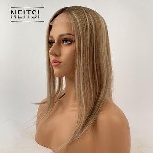 """Image 2 - Neitsi 16 """"20"""" 6*6.5 """"자연적인 인간적인 Toupee 머리 조각에 있는 클립을 가진 똑바른 실크베이스 처녀 표피 여자 Remy 머리 토퍼 가발"""